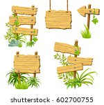 set wooden signs  isolated on... | Shutterstock .eps vector #602700755