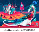 young king with his dragon in a ... | Shutterstock .eps vector #602701886