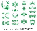 green symbols of a snail with... | Shutterstock .eps vector #602708675