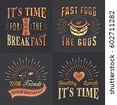 set of vintage fast food ... | Shutterstock .eps vector #602711282