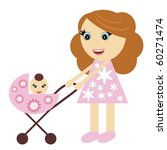 nice girl with perambulator | Shutterstock .eps vector #60271474