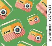 classic portable radio flat... | Shutterstock .eps vector #602717696