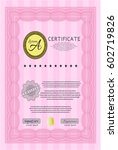 pink diploma template. with... | Shutterstock .eps vector #602719826