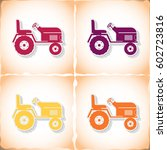Tractor. Flat Sticker With...