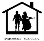 young couple in the house... | Shutterstock .eps vector #602730272