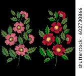 embroidery ethnic flowers on... | Shutterstock .eps vector #602730866
