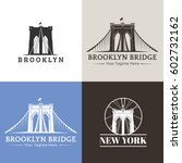 Stock vector new york symbol brooklyn bridge vector illustration 602732162