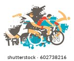 triathlon race. stylized... | Shutterstock .eps vector #602738216