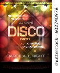 neon sign. disco party poster | Shutterstock .eps vector #602740976