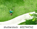 top view man worker cutting... | Shutterstock . vector #602744762