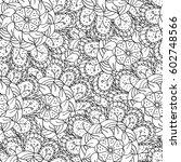 monochrome doodle seamless of... | Shutterstock .eps vector #602748566
