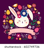 happy easter card. holiday... | Shutterstock .eps vector #602749736
