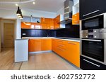 kitchen with appliances and a... | Shutterstock . vector #602752772