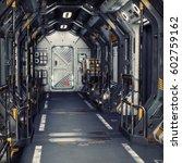 futuristic metal sci fi... | Shutterstock . vector #602759162
