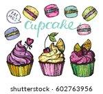 hand drawn doodle cupcake. eat... | Shutterstock .eps vector #602763956
