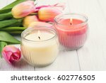 yellow and pink aroma candles... | Shutterstock . vector #602776505