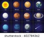 solar system planets on  black...   Shutterstock .eps vector #602784362