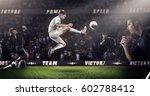 brutal soccer action on 3d... | Shutterstock . vector #602788412