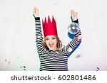 party girl in colorful... | Shutterstock . vector #602801486
