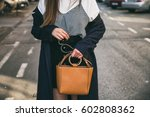 fashion blogger outfit details. ... | Shutterstock . vector #602808362