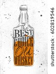 poster bottle whiskey lettering ... | Shutterstock .eps vector #602819546