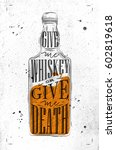 poster bottle lettering give me ... | Shutterstock .eps vector #602819618