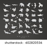 set of animals grey origami... | Shutterstock .eps vector #602820536