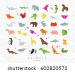 set of animals color origami... | Shutterstock .eps vector #602820572