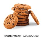 stack of chocolate chip cookies ... | Shutterstock . vector #602827052