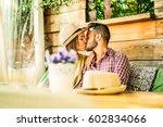 happy travel couple having... | Shutterstock . vector #602834066