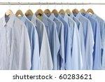 clothes hanger with blue shirt | Shutterstock . vector #60283621