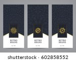 luxury retro label set. vector... | Shutterstock .eps vector #602858552