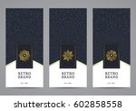 luxury retro label set. vector... | Shutterstock .eps vector #602858558