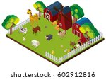 many animals on the farm in 3d
