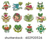vector set of twelve images of... | Shutterstock .eps vector #602920526