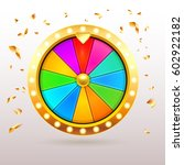 gold 3d realistic fortune wheel ... | Shutterstock .eps vector #602922182