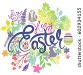 easter card design with rabbit...   Shutterstock .eps vector #602934155