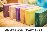 Stock photo homemade soaps variety of colorful handmade soap bars on wooden background 602946728
