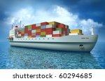 Cargo Ship Sails Across The...