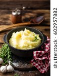 mashed potatoes  boiled puree... | Shutterstock . vector #602957882