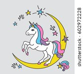 vector card with cute unicorn....   Shutterstock .eps vector #602972228