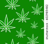 seamless pattern with cannabis... | Shutterstock .eps vector #602985482