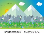 garden with flowers and... | Shutterstock .eps vector #602989472
