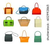 ladies bags icons flat design... | Shutterstock .eps vector #602992865