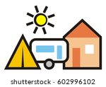 camping  cabin  trailer and... | Shutterstock .eps vector #602996102