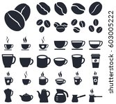 coffee cups and beans icons | Shutterstock .eps vector #603005222