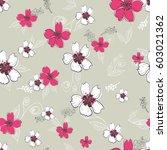 vector flowers pattern ...   Shutterstock .eps vector #603021362