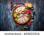snack set. assorted sliced meat ... | Shutterstock . vector #603022526