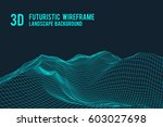 abstract 3d wireframe landscape ... | Shutterstock .eps vector #603027698