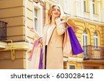 portrait of stylish  beautiful... | Shutterstock . vector #603028412